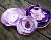 Trio of Purple Satin Flowers - Free Shipping
