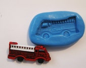 Fire truck Flexible Silicone Push Mold for Polymer clay, Resin,Wax,Miniature Food,Sweets,plaster