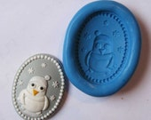 penguin cameo Flexible Silicone Push Mold for Polymer clay, Resin,Wax,Miniature Food,Sweets,plaster