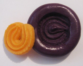 Cookie Flexible Silicone Push Mold for Polymer clay, Resin,Wax,Miniature Food,Sweets and more..