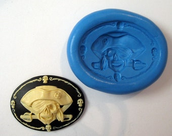 Pirate Skull  cameo Flexible Silicone Push Mold for Polymer clay, Resin,Wax,Miniature Food,Sweets and more..