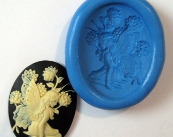 fairy nymph cameo Flexible Silicone Push Mold for Polymer clay, Resin,Wax,Miniature Food,Sweets and more..