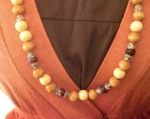 SALE...Extra Long Wooden Bead Necklace