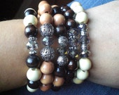 Wood Stretch Bracelet with Grey Crystal and Silver Accents