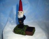 Fred the Gnome - needle felted doll with stash box