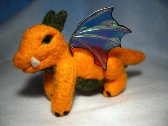 Needle felted baby dragon - Pumpkin