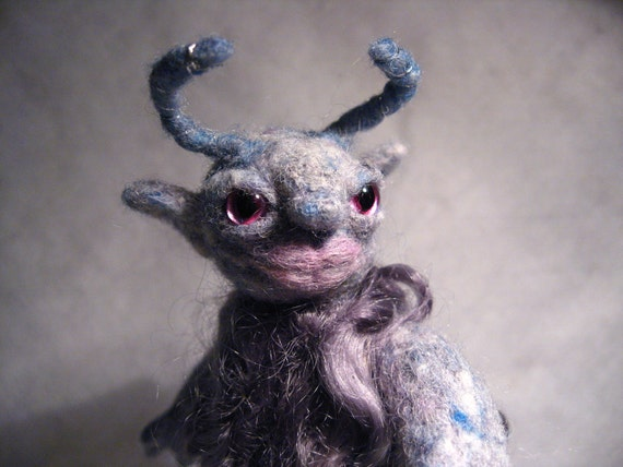 Wee Beastie - Greta the Goblin - Needle Felted Pocket Monster