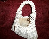 Vintage White Beaded Purse by Delill Made in Italy