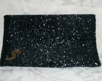 Vintage 50s Black Beaded Envelope Clutch By Walbaeg