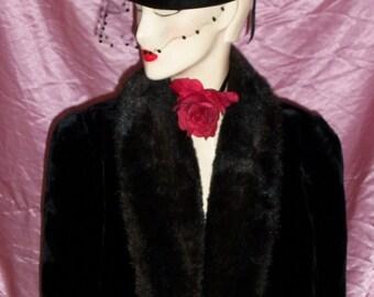 Vintage  60s  Black Faux Fur Coat Jacket