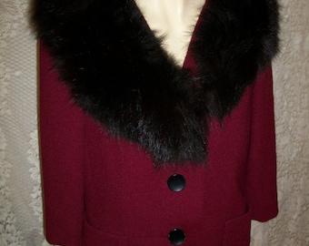 Vintage  50s Real Black Fox Fur Tweed Wool Jacket  by Monte Sanl Prozar of New York Goldrings