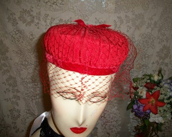 Vintage 50s  Red  Hat with Netting