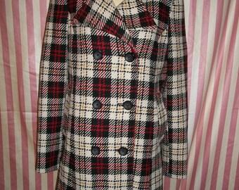 Vintage Plaid Preppie Wool Swing Coat Jacket by Tommy Hilfiger