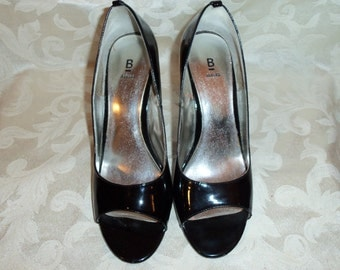 Vintage  Black Patent Peep Toe Shoes by Bakers