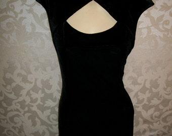 Vintage 1980s Long Black Velvet Gown