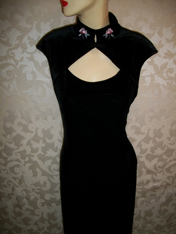 Vintage 1980s Long Black Velvet Gown