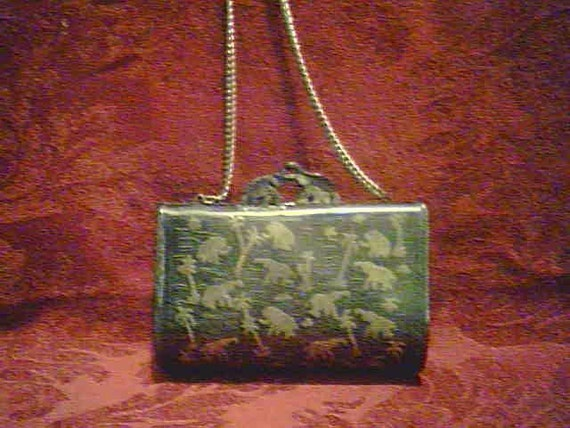 RESERVE FOR MINIESTELLE   Vintage 30s Silver and Gold Brass Purse from India