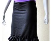 Pencil skirt with ruffled hem, organic cotton handmade women's clothing, organic skirt
