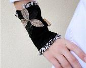 SALE Wearable art leather linen wrist cuff bracelet  in black
