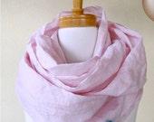 SALE Hemp silk infinity scarf  wrap neck warmer ballet pink
