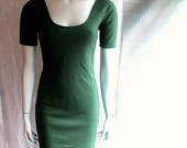 Short organic dress, tunic dress, cropped sleeves dress, handmade dress, organic cotton clothes, scoop neck dress, green dress
