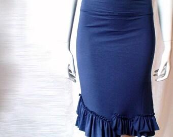 Short pencil skirt, organic cotton skirt, handmade skirt, organic clothes, blue skirt