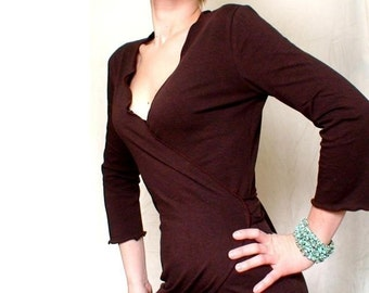 Wrap dress with long sleeves, organic women's clothing, wrap tunic, handmade dress