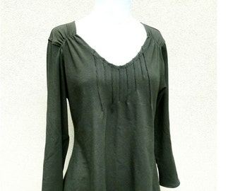 Organic sweatshirt top with asymmetrical hem and pin tucks, made to order, more colors, handmade organic clothes
