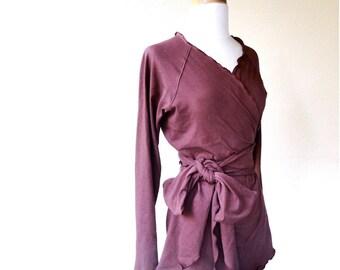Organic cotton wrap top, long sleeve shirt, organic clothes for women, handmade clothes for women, sweater top, dark red sweatshirt
