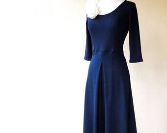 Long organic cotton dress, navy blue gown, formal dress, bridesmaid dress, handmade organic clothing