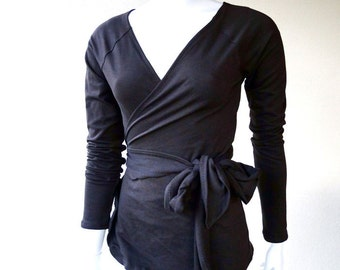 Black wrap top, organic cotton wraparound shirt, handmade clothes, more colors, yoga wrap top