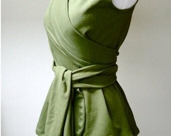 Sleeveless wrap top, organic cotton shirt, wraparound top, organic clothing, handmade sweater top