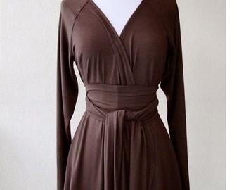 Long sleeved cardigan, wrap top with obi belt, organic cotton shirt, handmade tunic top