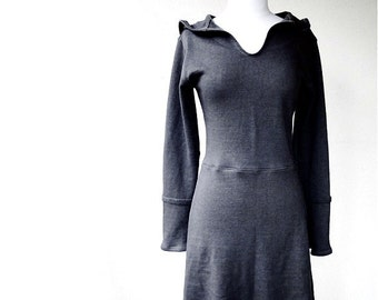 Hooded dress, organic handmade clothing, organic cotton tunic dress