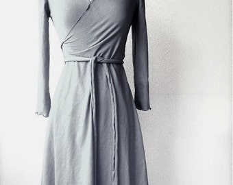Long wrap dress, handmade organic women's clothing, organic cotton wrap dress