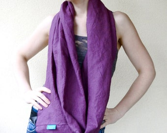 Linen infinity scarf  wrap neck warmer in grape or peacock