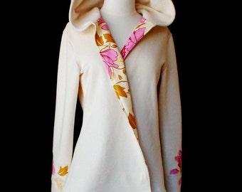 Organic women's hoodie jacket, organic cotton fleece coat, custom made clothing