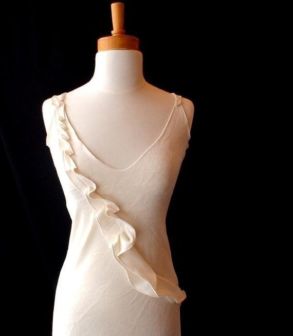 Night gown slip dress - organic bamboo velour in ivory or mink brown