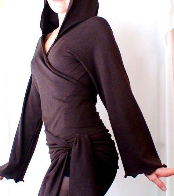 Organic cotton hoodie,  hoodies tunic, wrap around shirt, womens hooded sweater, knit sweater , brown wrap top, handmade in Canada clothes