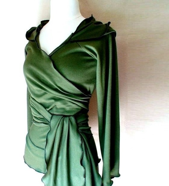 SALE - Organic cotton/bamboo hoodie wrap in forest green SIZE XL - READY TO SHIP