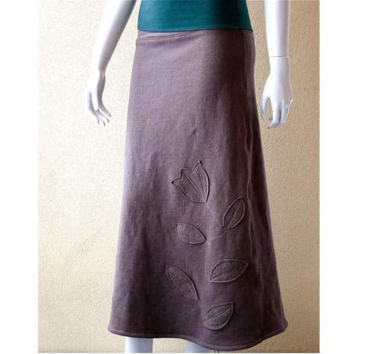 Long maxi skirt, organic cotton ankle skirt, handmade skirt, organic clothes shop, long grey skirt, flare skirt