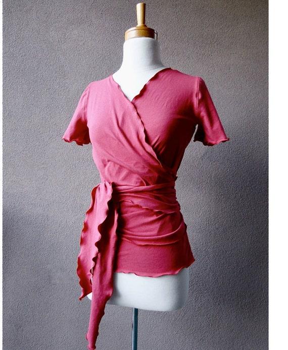 Wrap top, organic cotton women's shirt, cotton tunic, wrap shirt, handmade organic clothes