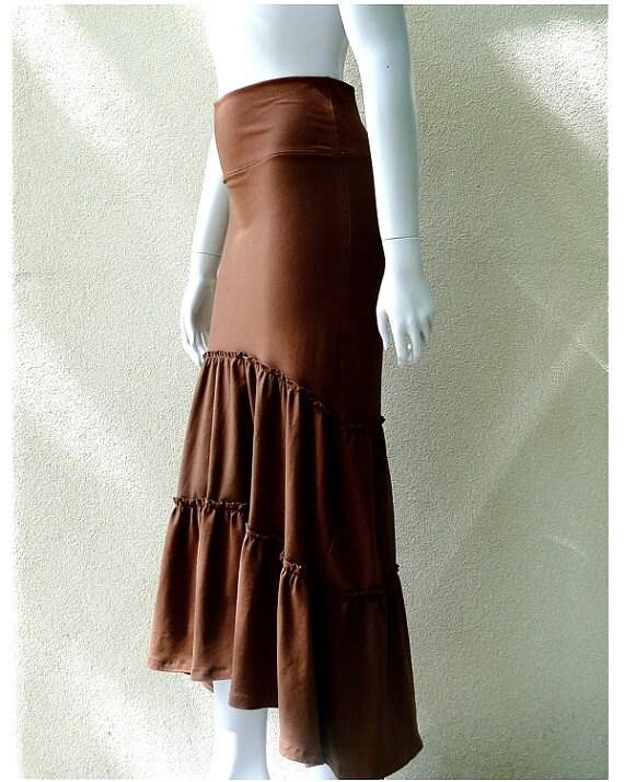 Very long flare skirt, organic frilly skirt,  custom handmade organic clothing, maxi skirt