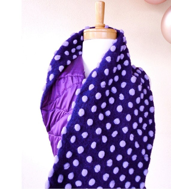 Wool scarf - purple scarf - woollen scarf with dots - dotty warm scarf neck warmer