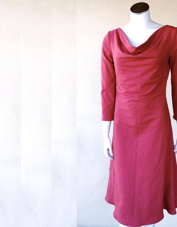 Long cowl dress, organic cotton dress with draped neckline, handmade dress, maxi dress, long red dress, handmade organic clothes