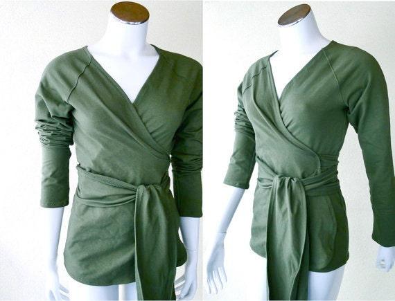 Womens wrap shirt - organic cotton