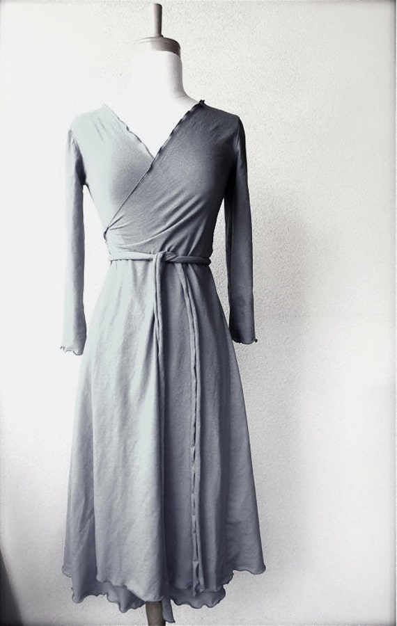 Long wrap dress, organic cotton wrap around dress, true wrap dress, handmade clothes for women, made in Canada, long grey dress, more colors