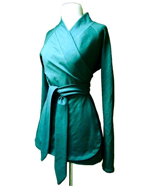 Wrap shirt with shawl collar, organic cotton tunic wrap, handmade organic clothing for women, made in Canada