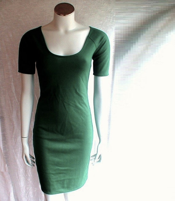 Short organic dress, tunic dress, cropped sleeves dress, handmade dress, organic cotton clothes, scoop neck dress, green dress