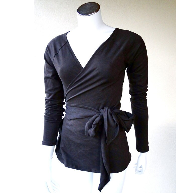 Black wrap top organic cotton wraparound shirt handmade